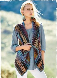Kaffe Fassett's head-turning art knit vest is masterfully intarsia knit in dozens of hand-tweeded colors, from sky blue and lavender to honey, tan and chocolate. An easy silhouette, styled with draping front panels and handcrocheted trim. A collectible to wear with a range of denims.