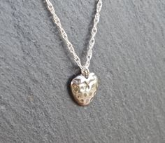 Strawberry Necklace/Pendant fine silver by MeltSilver on Etsy This fine silver strawberry pendant has been handmade by me, using Silver Metal Clay and Liver of Sulphur to give the darker, detailed colour.