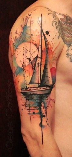 Boat, Sea, Sunrise watercolor tattoo on arm | DIY Watercolor Tattoo