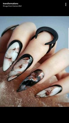 Marmor Nägel marble nails halloween nails cool nail designs Wedding Favors-A Gift for the Guests Art Marble Nail Designs, Long Nail Designs, Marble Nail Art, Acrylic Nail Designs, Nail Art Designs, Nails Design, Unique Nail Designs, Black Marble Nails, Stone Nail Art