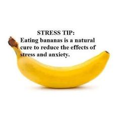 Stress tip; eating bananas is a natural cure to reduce the effects of stress and anxiety Health And Nutrition, Health And Wellness, Health Fitness, Mental Health, Health Facts, Anxiety Tips, Stress And Anxiety, Anxiety Relief, Anxiety Help