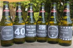 40th Birthday Beer Labels  Chalk Board Style by SmartPartyPlanning