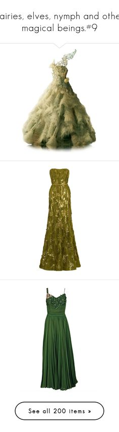 """""""Fairies, elves, nymph and other magical beings.#9"""" by xiuchen-was-taken ❤ liked on Polyvore featuring dresses, gowns, long dress, vestido, ball gowns, long dresses, green evening gown, green dress, green gown and green ball gown"""