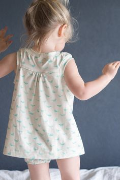 two free patterns for summer pajamas in birds paper pigeon fabric by about blue fabrics, racerback dress and blanche bloomer