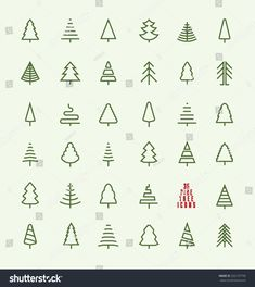 Illustration of Thin Line Pine Tree Icon Set - A collection of 35 christmas tree line icon designs on light background vector art, clipart and stock vectors. Icon Design, Line Design, Design Design, Flat Design, Design Layouts, Christmas Tree Background, Little Christmas Trees, Christmas Tree Logo, Christmas Icons