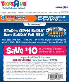 53e06432720ff8 Early Birds Save 10  off 40  at ToysRUs Tomorrow 8 am - 9 am