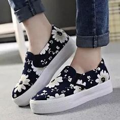 Flower-Print Platform Slip-Ons from #YesStyle <3 Nouvelle Footwear YesStyle.com