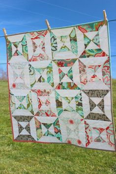 Baby Girl Quilt Double Hourglass Quilt Riley Blake by lovequilt, $68.00