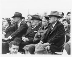 LBJ and Lady Bird are seated with President Harry Truman, First Lady Bess Truman, and Speaker Sam Rayburn at the dedication of the Sam Rayburn Library in Bonham, Texas on October 9, 1957.