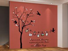 Wandtattoo Zweifarbiger Baum mit Fotorahmen und Spruch Artikelbild vergrößern