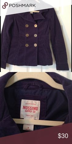 Navy Blue Velvet Pea Coat Excellent condition. Navy Pea Coat with brass like large buttons. Very classic. Not heavy. Nicely lined. Criss cross stitch on buttons. This coat is classic. You can keep this forever Mossimo Supply Co Jackets & Coats Pea Coats