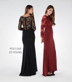 4038a1640f POLY USA - Style 7696 - ITY and mesh dress with embroidery and beads. Mesh