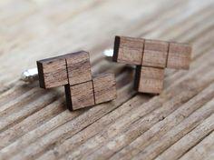 Geek Tetris Cufflinks, walnut wood