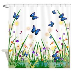 Butterflies Shower Curtain on CafePress.com