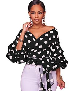 6ffc961573856 online shopping for PrettySoul Women s Elegant V Neck Wrap Long Puff Sleeve  Polka Dots Blouse Shirt Tops With Belt from top store. See new offer for ...