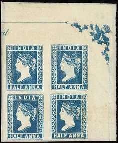 """India. 1854 Issue. Half Anna, Die III """"D"""" Stone. Unused. Blue upper right corner block of four in characteristic """"sea blue"""" shade, [7-16] with full corner ornament and small part of imprint above [7], fresh colour and very fine. An exceptionally rare multiple. Photo  Note: This block adjoins the marginal block of four offered as lot 58 in the Christie's Robson Lowe auction of 8 March 1994 (Estimate 10000 - 12000)"""