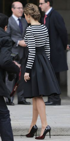 Letizia in Stripes at Picasso Exhibition - February 19, 2015 - Letizia's Closet