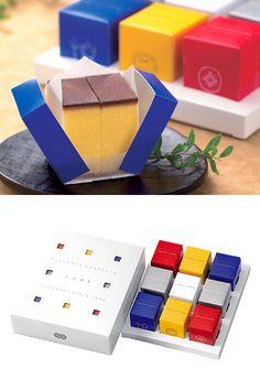 minimal packaging - Designed by Fukusaya Cube Castella Packaging Box, Dessert Packaging, Bakery Packaging, Food Packaging Design, Packaging Design Inspiration, Brand Packaging, Branding Design, Cake Branding, Coffee Packaging