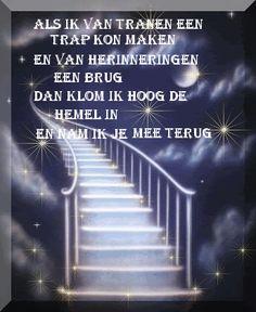 'Als ik van tranen een trap kon maken en van herinneringen een brug, dan klom ik hoog de hemel in en nam ik je mee terug.'