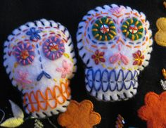 Embroidered Sugar Skull Brooches
