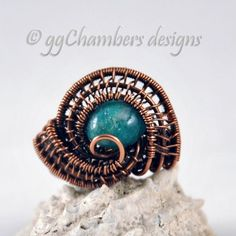 Antiqued Copper Woven Wire and Green Adventurine Ring