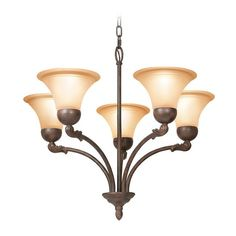 This bronze five-light chandelier from Woodbridge Lighting will bring a classic look to your home decor. Its restoration-bronze finish and burn-etched glass provides you with a beautiful fixture that will be the talk of your dinner guests.