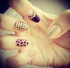 nude black leopard nails - Google Search