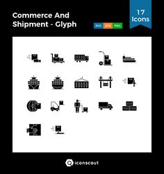 Commerce And Shipment - Glyph  Icon Pack - 17 Solid Icons