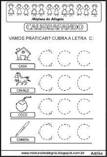 Caligrafando Letra C Pontilhada Atividade Alfabeto Educacao