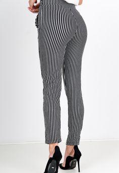 Letné čierne pruhované nohavice s viazaním v páse - ROUZIT.SK Striped Pants, Fit, Fashion, Moda, Stripped Pants, Shape, Fashion Styles, Striped Shorts, Fashion Illustrations