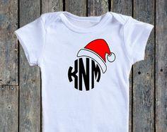 Christmas monogram onesie®/ Baby Girl onesie®/Baby boy Onesie®/ Santa hat onesie®/ Holiday outfit/ Santa Baby/ First Christmas/ monogrammed