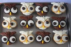 Owl Cupcakes with Chocolate and Vanilla Frosting -think I may try these for G's birthday. Owl Cupcakes, Animal Cupcakes, Cupcake Cookies, Owl Cookies, Themed Cupcakes, Halloween Cupcakes, Halloween Treats, Deco Pastel, Cupcake Day
