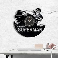 Superman vinyl record clock, wall clock Superman, Best Gift for Home Decor #superman #homedecor #walldecor #clock #wallclock #vinyl #gifts #giftideas #giftsforher #giftguide #giftwrap