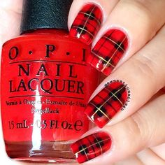 Red Plaid Nails ✨❤️✨ I think this design is a must have for this coming fall season so there you have it I have a tutorial for these beauties and I will post it later. So better stay tuned All design was hand painted with acrylic paint Red polish from ❤️@hbbeautybar called #opi Big Apple Red Everything topped with @glistenandglow1 Hk Girl top coat ✨