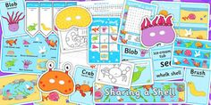 Sharing a Shell Resource Pack - story books, stories, story, pack New School Year, Pre School, Sharing A Shell, Story Sequencing, Display Lettering, Primary Resources, Letters And Numbers, Craft Stick Crafts, Phonics