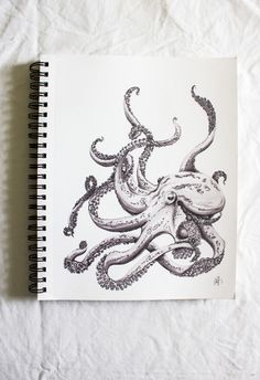 glue last page of sketchbook to sketchbook and hang Octopus Drawing, Octopus Art, Octopus Sketch, Squid Tattoo, Octopus Tattoos, Inspiration Artistique, Tatuagem Old School, Tinta China, Illustration Art