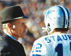 NFL Football Dallas Cowboys Tom Landry and Roger Staubach Photo ...Best Coach, Best Quarterback EVER