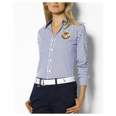 white and blue striped shirt ralph lauren