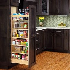 Maximize your storage space with this fabulous and functional pullout pantry. Constructed from beautiful maple, it features adjustable shelves, door mount brackets, a telescoping rear wall, and all mounting hardware.