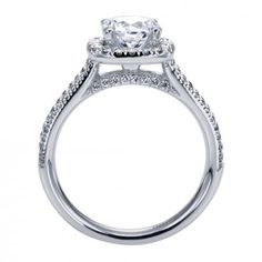 14K White Gold Double Row Halo Engagement Ring @ Wedding Day Diamonds