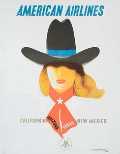 DP Vintage Posters - American Airlines Travel Poster, [[California]] [[Arizona]], [[Texas]], New Mexico Cowgirl