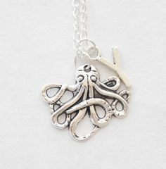 Beach Wedding Personalized Octopus Necklace Silver Octopus Jewelry Nautical Necklace Tentacles Statement Necklace Initial Monogram Jewelry by SmittenKittenKendall on Etsy