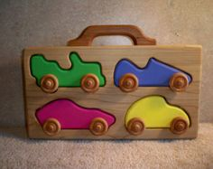 Wooden Cars With Carrier / Puzzel