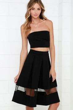 Double Up Black Strapless Two-Piece Midi Dress at Lulus.com!