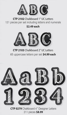 Check you the three different sizes and styles of chalkboard letters in the Chalk It Up! Available in & Letter Stickers and Punch-Out Letters.