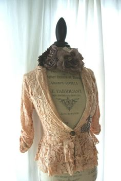 tattered ladies | Lace fall blazer, shabby bohemian jacket, tattered womens clothing ...