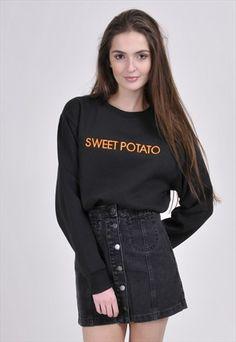 Black+SWEET+POTATO+(Orange)+Sweatshirt+-+Embroidered