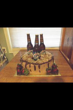 Beer bottle barrel cake. German Chocolate cake.