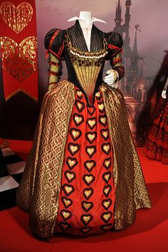 Gown worn by Helena Bonham Carter as the Red Queen/Queen of Hearts from Tim Burtons Alice in Wonderland.