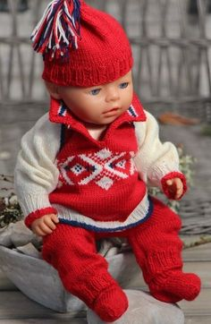 Model 2014 Winter Olympic Outfit - Sweater, Pants, Cap and Socks Design… Crochet Cable, Crochet Socks, Knitting Socks, Baby Knitting, Baby Born Clothes, Winter Baby Clothes, Knitting Designs, Knitting Patterns Free, Animal Print Socks